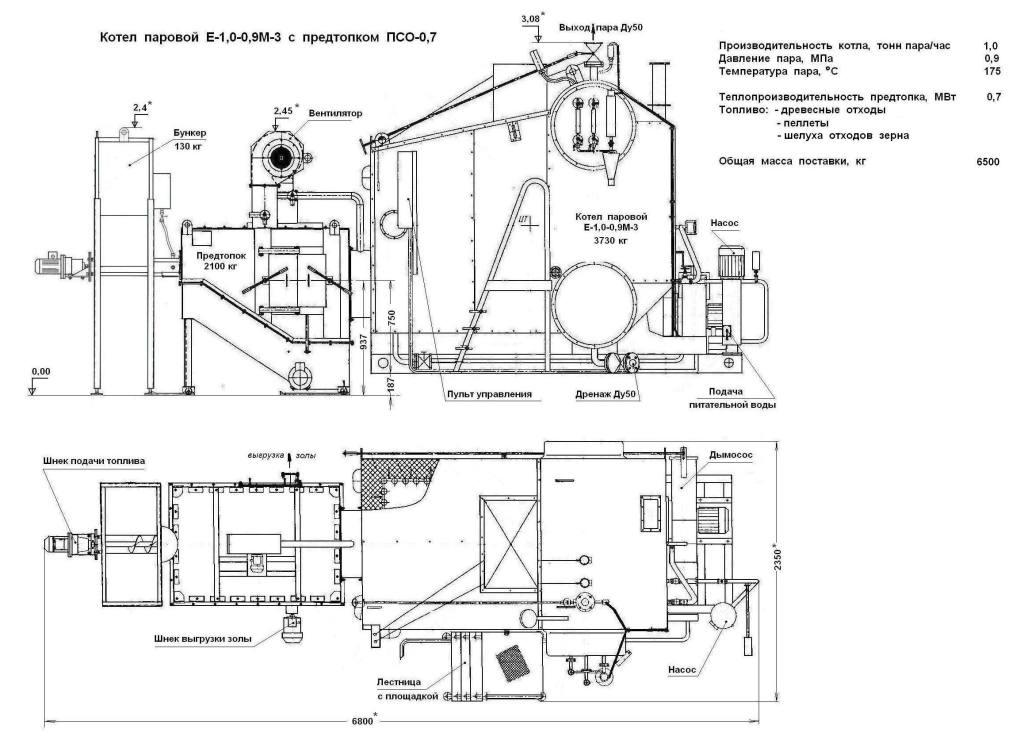 Котел Е-1,0-0,9М-3 с ПСО-0